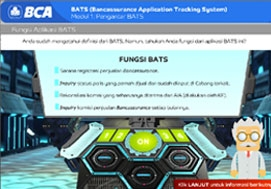 <h4><font style='font-weight: bold;color:#fff;'>Bank Central Asia (BCA) B.A.T.S & Server Infrastructre eLearning courses</font></h4>e-Learning module about what and how to use a B-A-T-S Application, combines cartoon-based approach and intuitive simulation to create fun learning activities