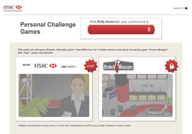 <h4><font style='font-weight: bold;color:#fff;'>HSBC e-Learning Module 'How HSBC Are You' </font></h4>Fun and challenging e-Learning modules for HSBC branch manager candidates, provide with two type of game play, trivia game about their product and simulation game on how to manage the branch effectively