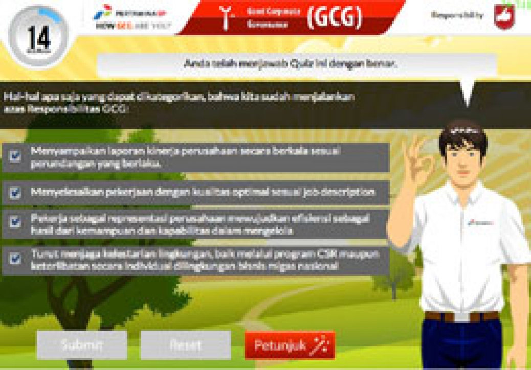 <h4><font style='font-weight: bold;color:#fff;'>Pertamina EP Good Corporate Governance (GCG) & Lifting and Riging eLearning courses</font></h4>e-Learning module that Effectively educate Pertamina employees about GCG and the proper way to perform lifting and rigging.